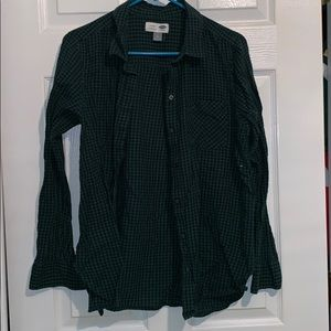 Green and black flannel button down
